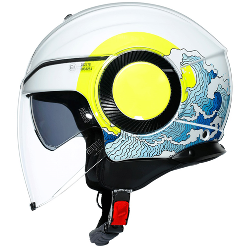 HELMET JET AGV ORBYT MULTI SUNSET WHITE/FLUO-YELLOW