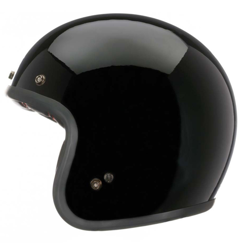 HELMET JET RETRO BELL CUSTOM 500 DELUXE + LEATHER BAG SOLID BLACK
