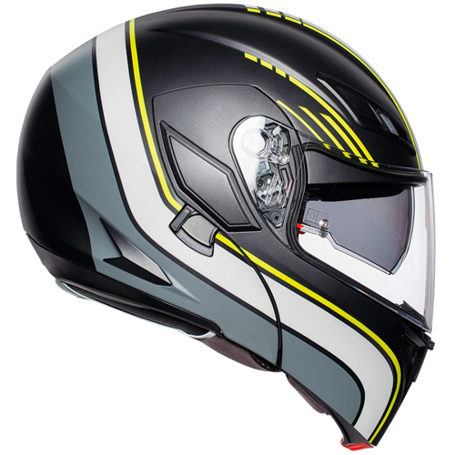 HELMET FLIP UP AGV COMPACT ST MULTI BOSTON MATT BLACK/GREY/YELLOW