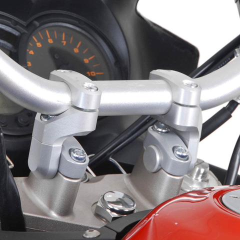 BAR CONVERTERS/RISERS SW-MOTECH VARIO BARBACK FROM 22 TO 28mm SILVER