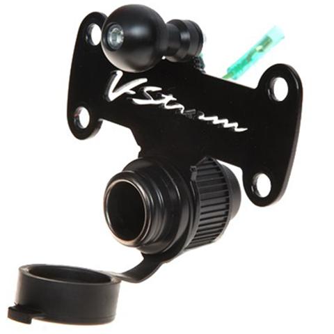 TRIPLE CLAMP ACC. MOUNT MOTO DISCOVERY V-STROM GPS/MOBILE/12V BASE SMARTY BLACK