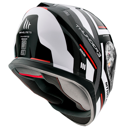 MT THUNDER 3 SV CARRY E0 GLOSS PEARL BLACK/WHITE HELMET FULL FACE