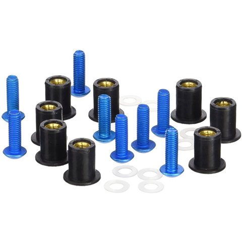 PUIG 0957A BLUE WINDSCREEN SCREW KIT ANODIZED WITH WELLNUTS