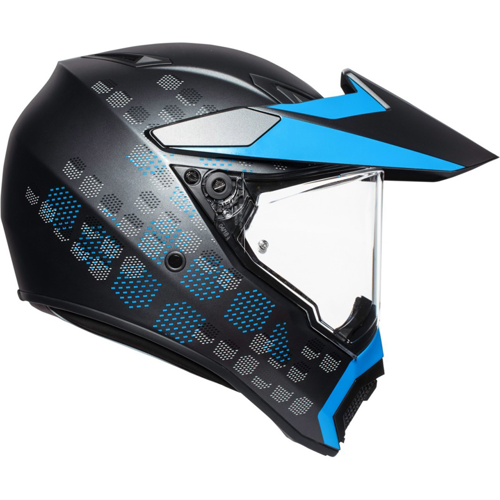 AGV AX9 MULTI ANTARTICA MATT BLACK/CYAN HELMET ON-OFF