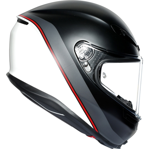AGV K6 MINIMAL PURE MATT BLACK/WHITE/RED HELMET FULL FACE
