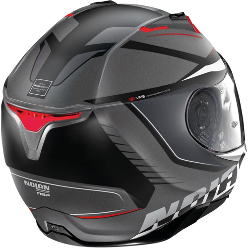 NOLAN N87 MILES N COM 87 FLAT LAVA GREY/WHITE/RED HELMET FULL FACE