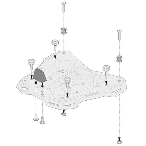 SW-MOTECH GPT.00.152.35400/B TOPCASE BASE ADAPTERS FOR MONOKEY TOPCASES ON ADVENTURE RACK