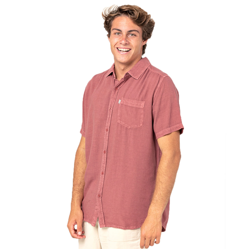 RIPCURL NEW VENTURA WASHED RED SHORT SLEEVE SHIRT
