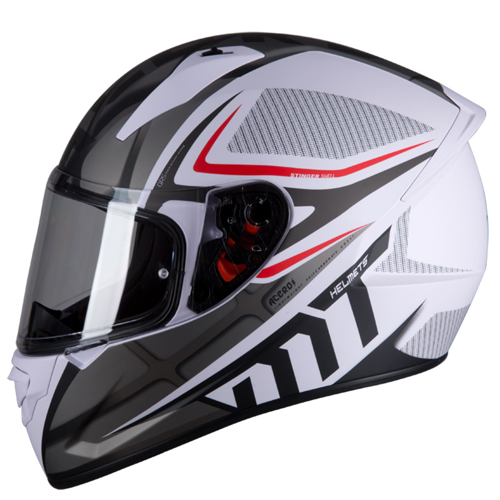 MT STINGER ACERO A0 MATT WHITE GREY HELMET FULL FACE
