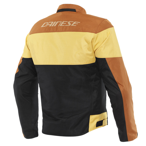 DAINESE ELETTRICA AIR TEX JACKET BLACK/LEATHER-BROWN/MINERAL-YELLOW JACKET SUMMER