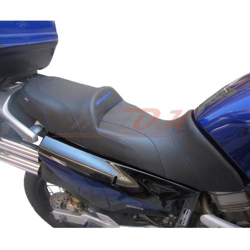 MOTO.K COMFORT SEAT + 3 EMBROIDERY LOGOS + PROSTATE SPACE BLACK/BLACK FOR HONDA TRANSALP XLV-650 2000-2007